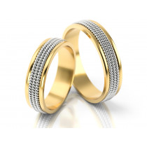 Wąskie obrączki ślubne ozdobione wykończeniem imitującym łańcuszki