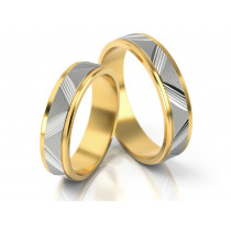 Dwubarwne obrączki ślubne z wzorem diamentowanym