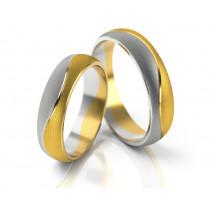 Matowe asymetryczne dwukolorowe obrączki ślubne