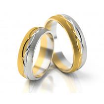 Matowe dwukolorowe obrączki ślubne ze wzorem