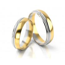 Obrączki ślubne złote zdobione białym złotem