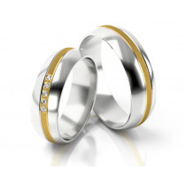 Obrączki ślubne z białego złota ozdobione subtelnym żółtym paskiem