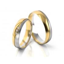 Obrączki ślubne złote dwukolorowe z ozdobną falą
