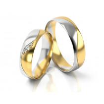 Obrączki ślubne z ozdobną falą dwukolorowe