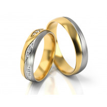 Ekstrawaganckie obrączki ślubne z białego i żółtego złota