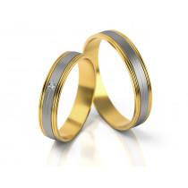 Dwukolorowe obrączki ślubne z pojedynczą cyrkonią