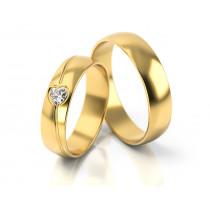 Obrączki ślubne ze wzorem w kształcie srerca