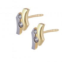 Złote eleganckie kolczyki na sztyft z cyrkonią