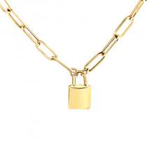 Złoty naszyjnik łańcuch kłódka