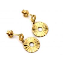 Kolczyki złote wiszące na sztyfcie z okrągłą blaszką
