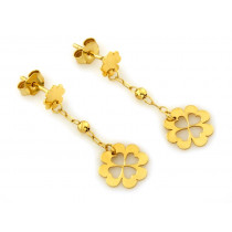 Kolczyki złote wiszące z koniczynkami