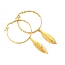 Kolczyki złote  koła z wiszącymi piórami