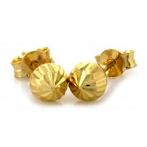 Złote kolczyki diamentowane kulki