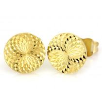Okrągłe diamentowane złote kolczyki na sztyfcie