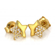 Kolczyki złote  gwiazdki z cyrkoniami