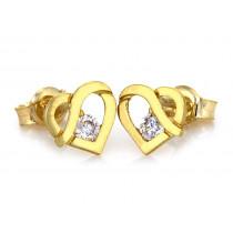 Kolczyki złote  serca z cyrkoniami