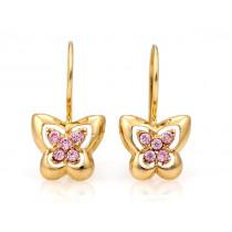 Złote kolczyki  z różowymi cyrkoniami