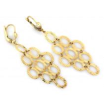 Kolczyki złote duże ażurowe wiszące z owalnych elementów