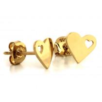 Kolczyki złote serduszka wycinane na sztyfcie