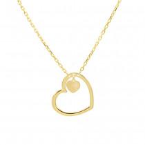 Złoty naszyjnik serce z serduszkiem