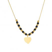 Złoty naszyjnik z serduszkiem i czarnymi kulkami z oksydowanego złota
