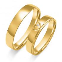 Złote obrączki ślubne z sercem