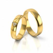 Obrączki ślubne półokrągłe z uroczym serduszkiem