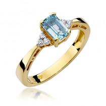 Gustowny pierścionek ze złota ozdobiony diamentami i topazem