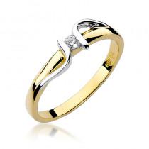 Zdumiewający złoty pierścionek ozdobiony białym złotem i diamentem