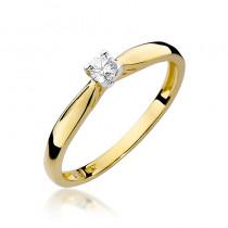 Subtelny złoty pierścionek zaręczynowy z diamentem