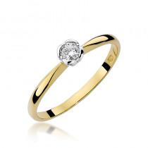Szykowny złoty pierścionek zaręczynowy z diamentem osadzonym w białym złocie