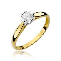 Strojny pierścionek zaręczynowy z żółtego złota z okazałym diamentem