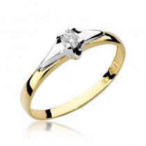 Stylowy złoty pierścionek zaręczynowy ozdobiony białym złotem i diamentem
