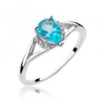 Nietuzinkowy pierścionek zaręczynowy z białego złota ozdobiony topazem i diamentami