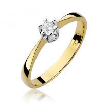 Klasyczny złoty pierścionek zaręczynowy z lśniącym diamentem