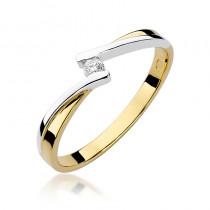 Nietuzinkowy złoty pierścionek z brylantem