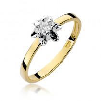 Elegancki złoty pierścionek z gustownie osadzonym brylantem
