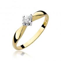Okazały złoty pierścionek zaręczynowy ozdobiony ślicznym diamentem