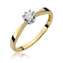 Klasyczny złoty pierścionek zaręczynowy z niepowtarzanym brylantem