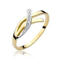 Niekonwencjonalny złoty pierścionek z diamentami