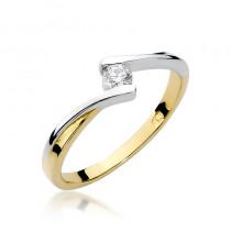 Finezyjny złoty pierścionek z uroczym diamentem