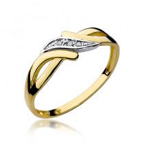 Elegancki złoty pierścionek z lśniącymi diamentami