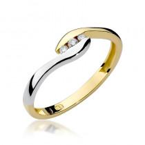 Subtelny złoty pierścionek wysadzany diamentami