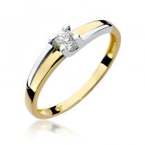 Szykowny zloty pierścionek zaręczynowy ozdobiony diamentem