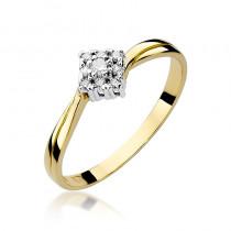 Subtelny złoty pierścionek zaręczynowy przyozdobiony diamentami