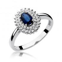 Gustowny złoty pierścionek z szafirem i diamentami