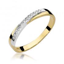 Minimalistyczny złoty pierścionek wysadzany diamentami