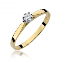Tradycyjny złoty pierścionek zaręczynowy z diamentem