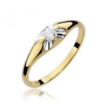 Nietuzinkowy złoty pierścionek zaręczynowy z brylantem