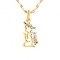 Urocza złota zawieszka modlący aniołek z cyrkoniami